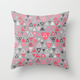 Summer Melon Hot Pink Triangles on Grey Throw Pillow