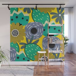 Fresh lemons and flowers Wall Mural