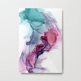 Lavender Swirl Aqua Pulse Metal Print