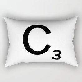 Letter C - Custom Scrabble Letter Wall Art - Scrabble C Rectangular Pillow