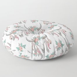 Boho Longhorn Cow Skull with Feathers and Peach Flowers Floor Pillow