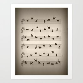 Cute Conceptual Cat Song Music Notation Art Print