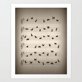 Cute Conceptual Cat Song Music Notation Art Print