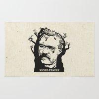 nietzsche Area & Throw Rugs featuring NICHE-TZSCHE by science fried art