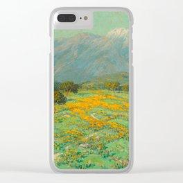 Granville Redmond snow cap spring landscape painting orange flowers green field Clear iPhone Case