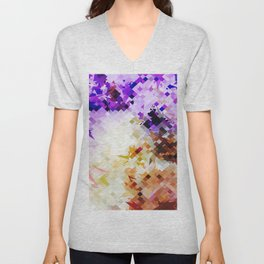geometric square pixel pattern abstract background in purple brown Unisex V-Neck