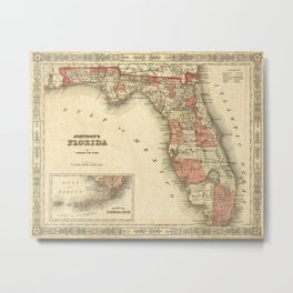 Old Florida Map 1863 Johnson's Map Of Florida Restoration Style Florida Vintage State Map Metal Print