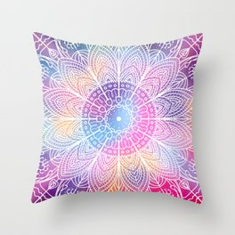 Mandala Colourful Spiritual Zen Hippie Festival Mantra Yoga Meditation Indian Throw Pillow