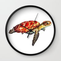 turtle Wall Clocks featuring Turtle by Alexander Cox