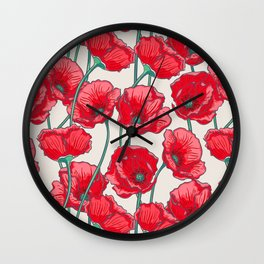 red popies Wall Clock