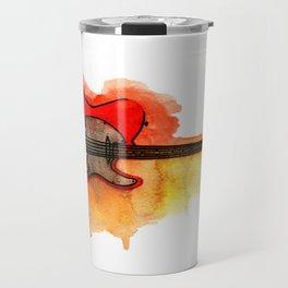 Watercolor guitar Travel Mug