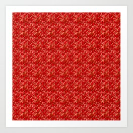 Camouflaged hunt on red Art Print
