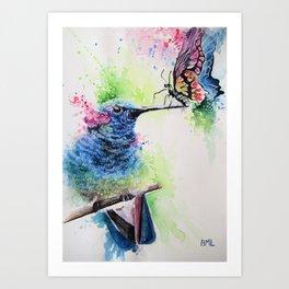 Hummingbird and Butterfly Art Print