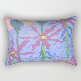 Blue Bohemian Garden Art Rectangular Pillow