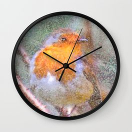 Artistic Christmas Robin Perched On A Thorny Branch Wall Clock