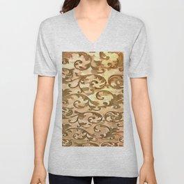 Stylized Foliage Leaves In Gold Unisex V-Neck
