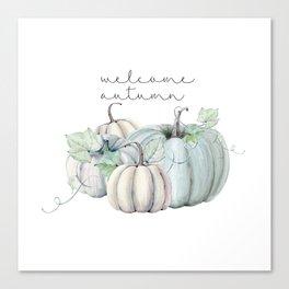 welcome autumn blue pumpkin Canvas Print