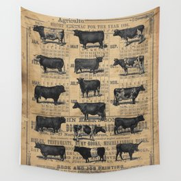 Vintage 1896 Cows Study on Antique Lancaster County Almanac Wall Tapestry