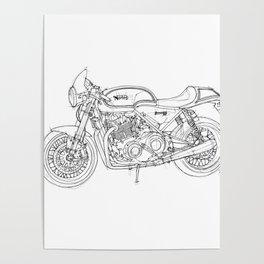 NORTON COMMANDO 961 CAFE RACER 2011, original artwork Poster