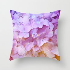 Multicolor beautiful Hydrangea petals - Flowers - Buds - Blossoms Throw Pillow