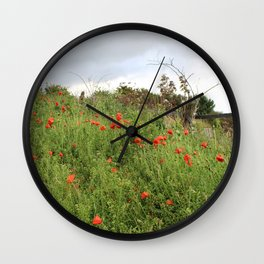 Poppies on a Hill Wall Clock