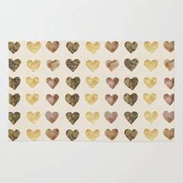 Gold and Chocolate Brown Hearts Rug