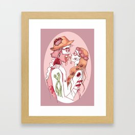 Zombie Hipsters in Love Framed Art Print