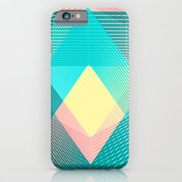 Blue pink Geometric triangle pattern iPhone Case