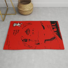 Italian Red Street Cinema Poster Graffiti Art Rug