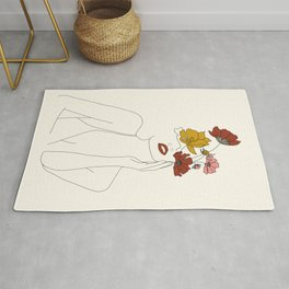 Colorful Thoughts Minimal Line Art Woman with Flowers Rug