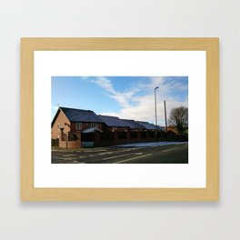 Houses by the road Framed Art Print