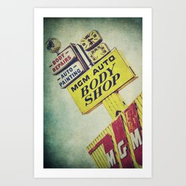 MGM Auto Body Shop Vintage Sign Art Print