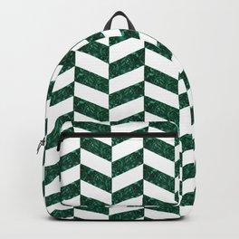 White and Malachite Herringbone Backpack