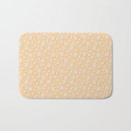 Festive Soybean Cream and White Christmas Holiday Snowflakes Bath Mat
