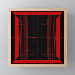Lines and Angles Black and Red Framed Mini Art Print