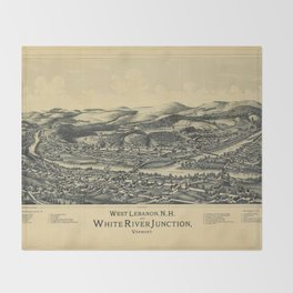 West Lebanon, New Hampshire and White River Junction, Vermont (1889) Throw Blanket