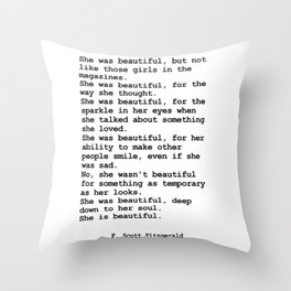 She was beautiful by F. Scott Fitzgerald #minimalism #poem Throw Pillow