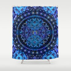 Blue Mosaic Mandala Shower Curtain