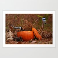 A Chickadee Thanksgiving Art Print