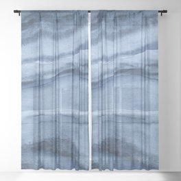 Indigo Blue Agate Pattern Sheer Curtain