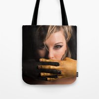 black and gold Tote Bags featuring Black & Gold by Levi Price