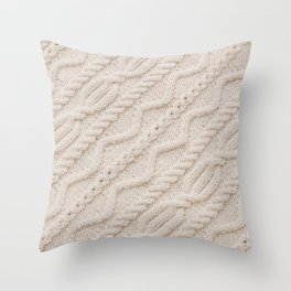 Beige Cableknit Sweater Throw Pillow