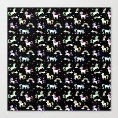 Unicorns and Rainbows - black -tiny Canvas Print