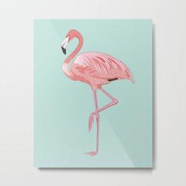 Flamingo, Pink Flamingo, Aqua Metal Print