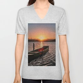 Boat at sunset Unisex V-Neck
