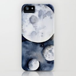 Three Moon Phases in Space, Nebula, Stars, Watercolor iPhone Case