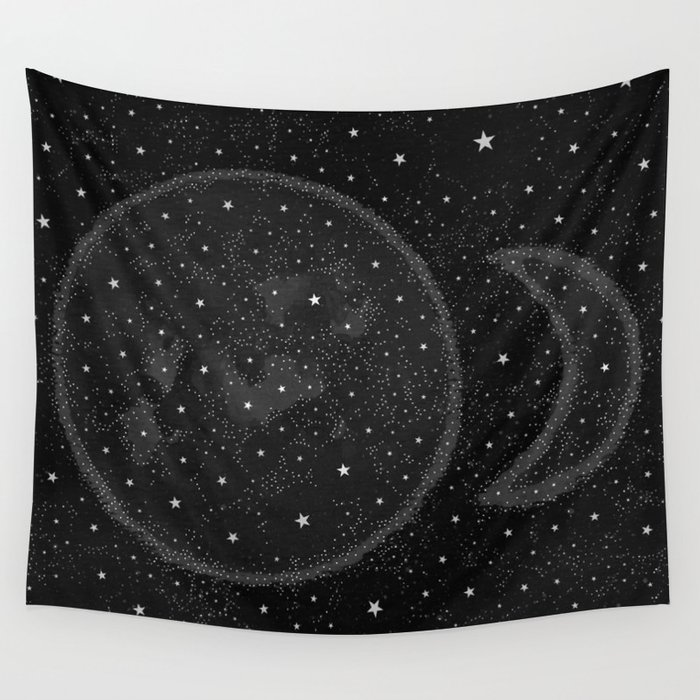 Starry Boho Moons Wall Tapestry