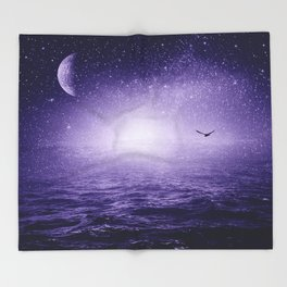 the Sea and the Universe ultra violet version Throw Blanket