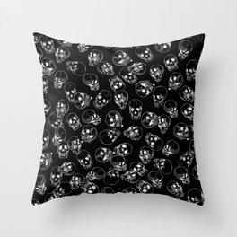 A Lot of Skulls Black Throw Pillow