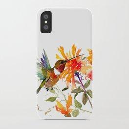 Hummingbird and Orange Floral Design, tropical Hawaiian Colors iPhone Case